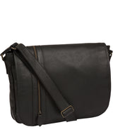 'Byron' Black Leather Messenger Bag image 5