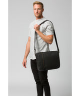 'Byron' Black Leather Messenger Bag image 7