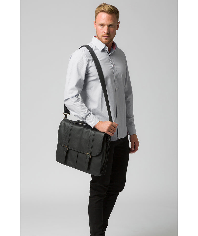 'Caxton' Black Leather Briefcase image 2