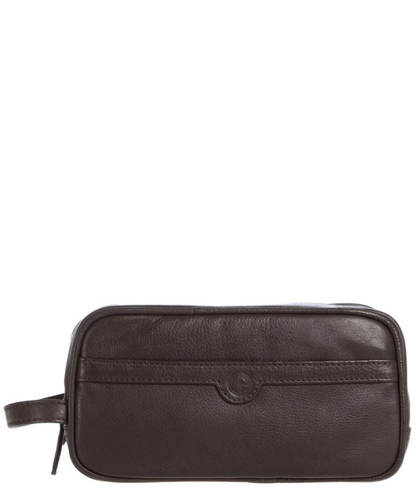 'Moore' Brown Leather Washbag