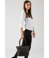 'Alnwick' Black & Gold-Coloured Detail Small Leather Tote image 7
