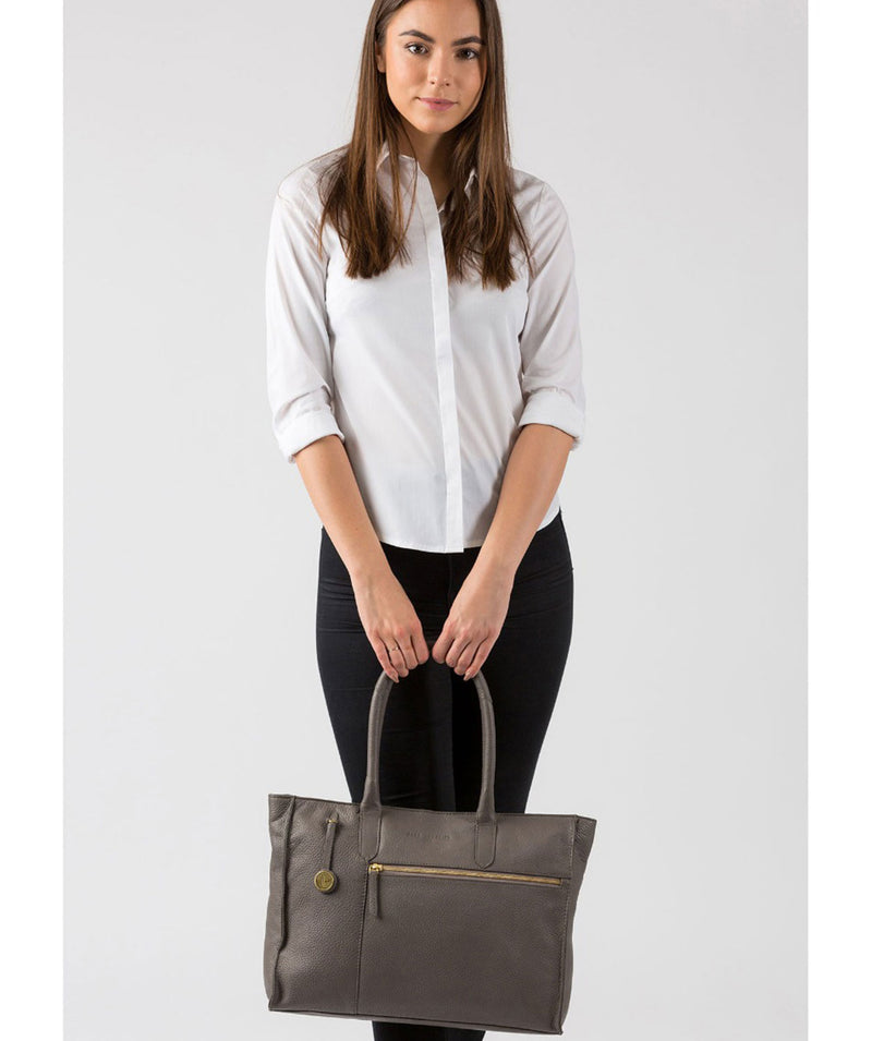 'Bexley' Grey Leather Tote Bag