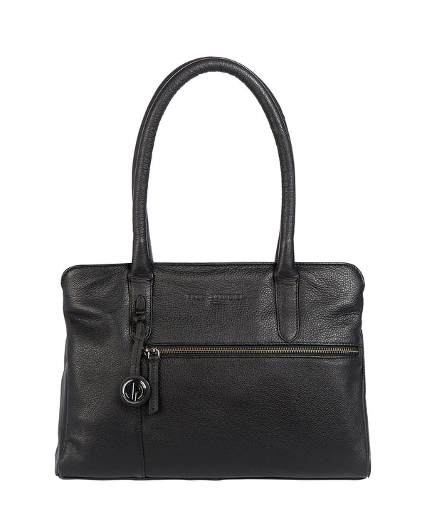 'Darley' Black Leather & Platinum-Coloured Detail Handbag