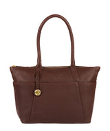 'Eton' Auburn & Gold-Coloured Detail Leather Tote Bag