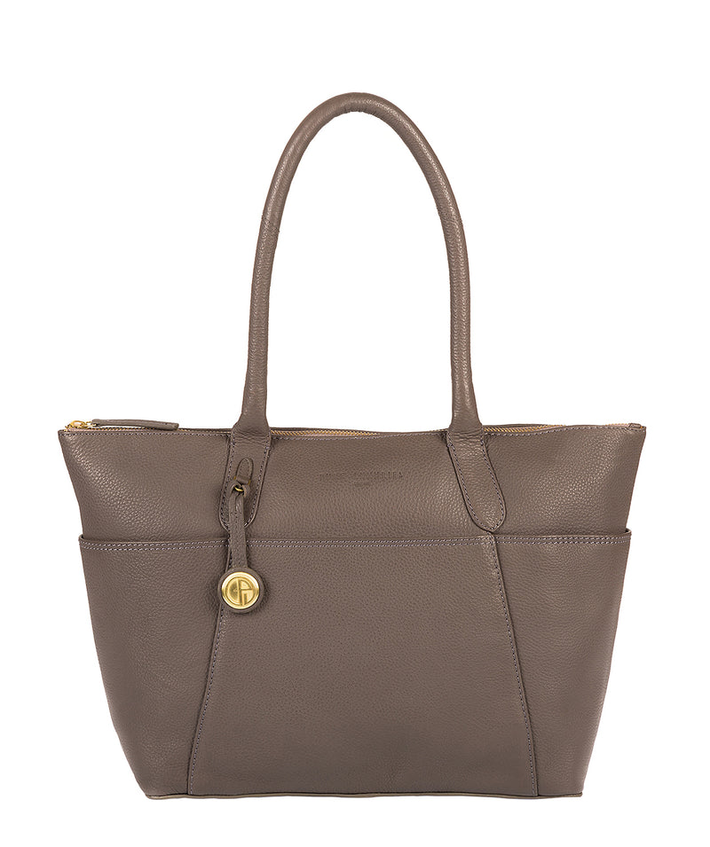'Eton' Grey & Gold-Coloured Detail Leather Tote Bag