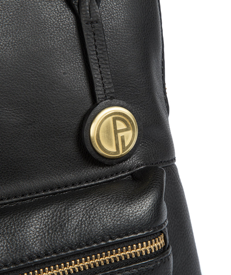 'Ingleby' Black Leather & Gold-Coloured Detail Backpack