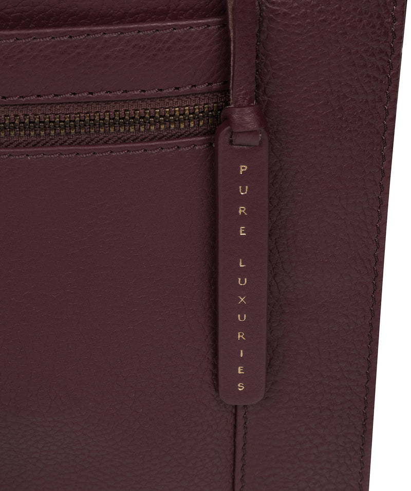 'Topaz' Plum Leather Cross Body Bag Pure Luxuries London