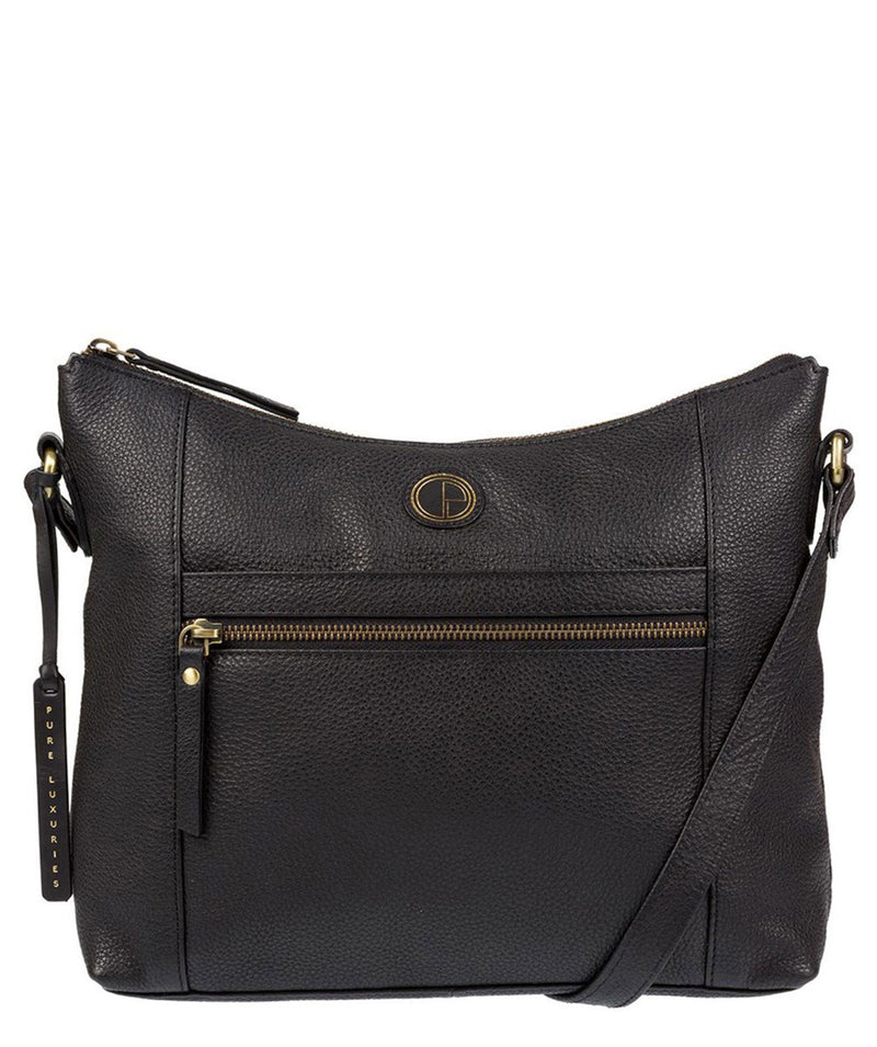 'Sequoia' Black Leather Shoulder Bag