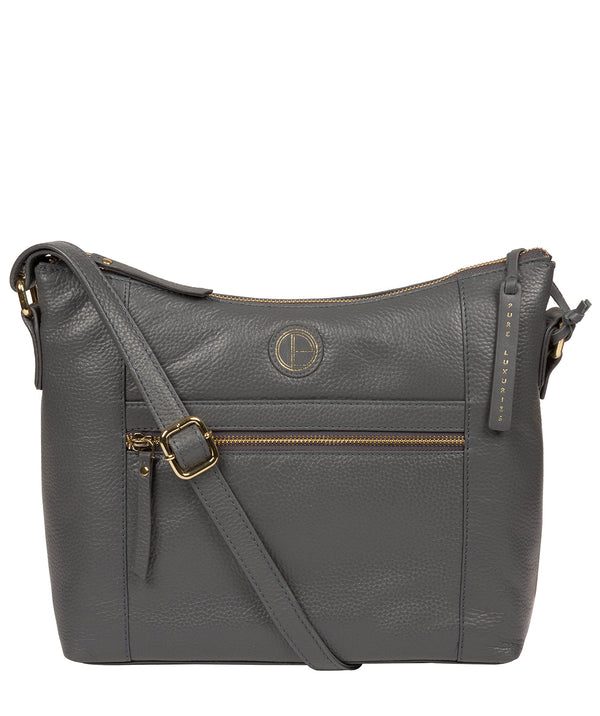 'Sequoia' Grey Leather Shoulder Bag image 1