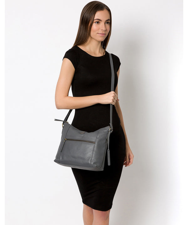 'Sequoia' Grey Leather Shoulder Bag image 2