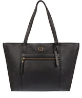 'Skye' Black Leather Tote Bag