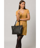 'Skye' Black Leather Tote Bag image 2