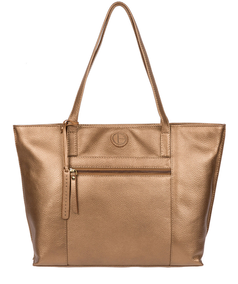 'Skye' Bronze Gold Leather Tote Bag image 1