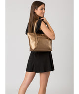 'Skye' Bronze Gold Leather Tote Bag image 2