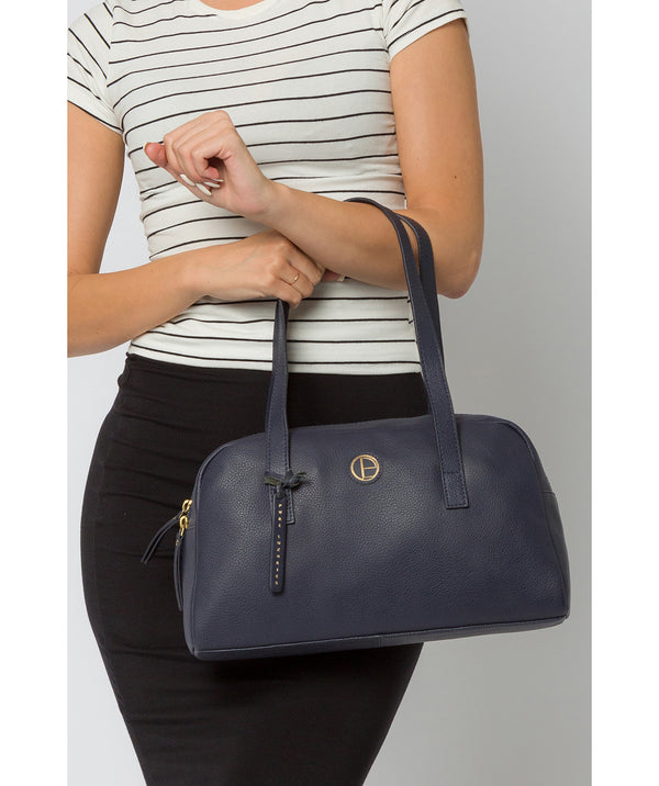 'Pitunia' Navy Leather Handbag image 2