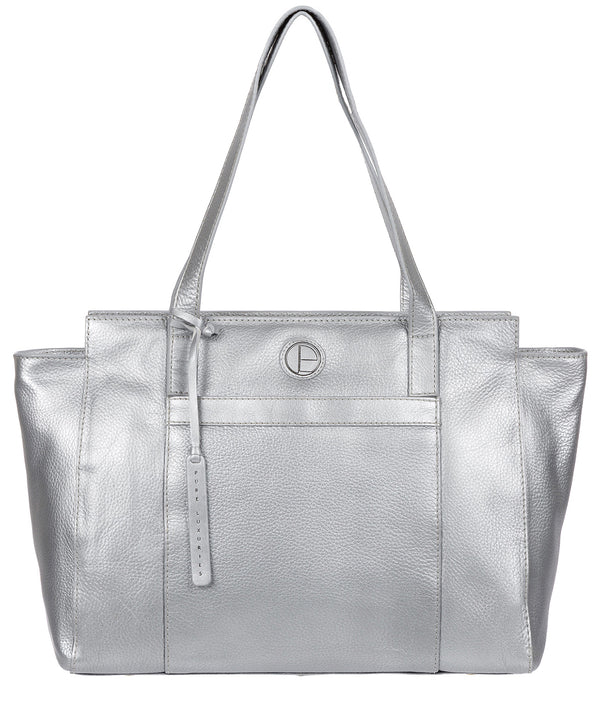 'Dusk' Metallic Silver Leather Shoulder Bag image 1