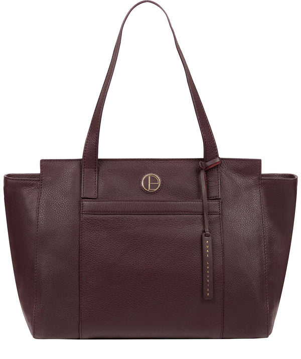 'Dusk' Plum Leather Shoulder Bag image 1