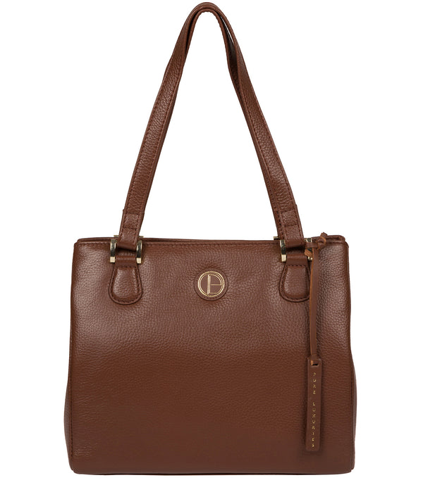 'Milana' Dark Tan Leather Handbag Pure Luxuries London