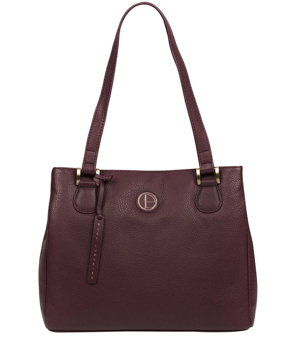 'Milana' Plum Leather Handbag