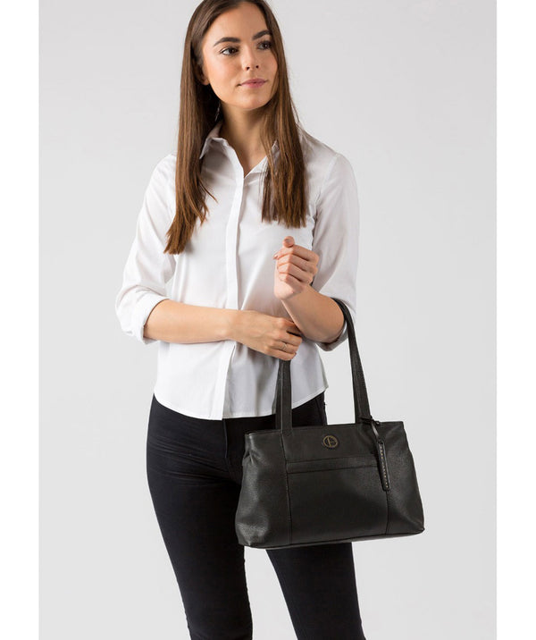 'Mist' Black Leather Handbag