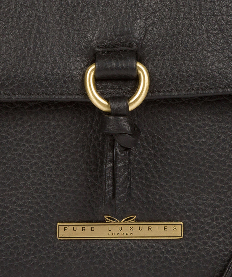 'Mabel' Black Leather Cross Body Bag image 6