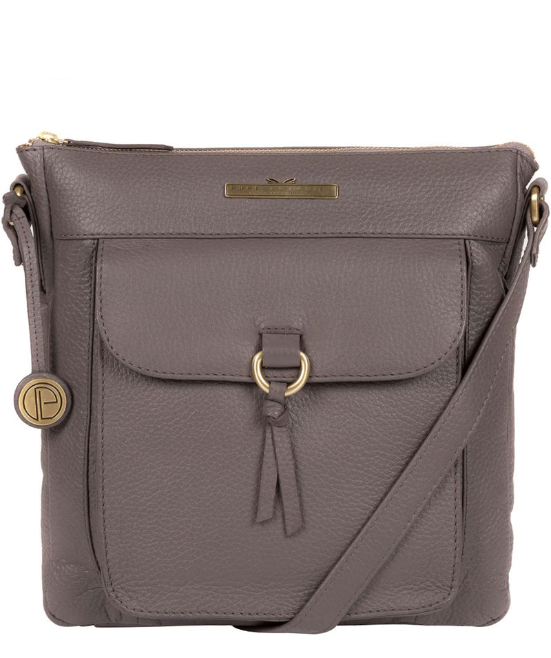 'Caroline' Grey Leather Cross Body Bag