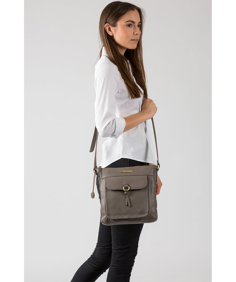'Caroline' Grey Leather Cross Body Bag image 2