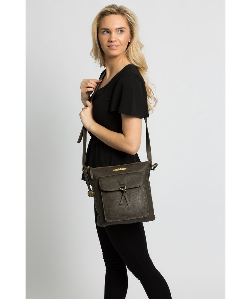 'Caroline' Olive Leather Cross Body Bag image 2