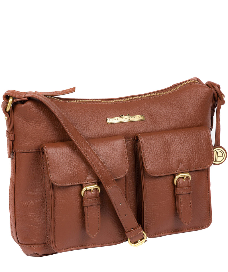 'Natasha' Dark Tan Leather Shoulder Bag image 3