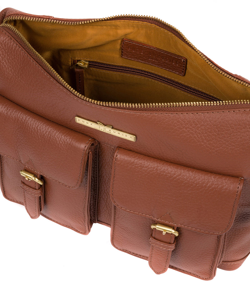 'Natasha' Dark Tan Leather Shoulder Bag image 4