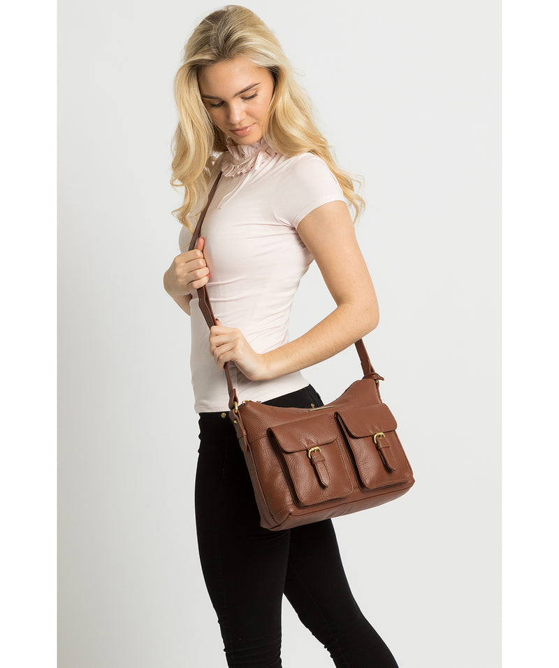 'Natasha' Dark Tan Leather Shoulder Bag image 2