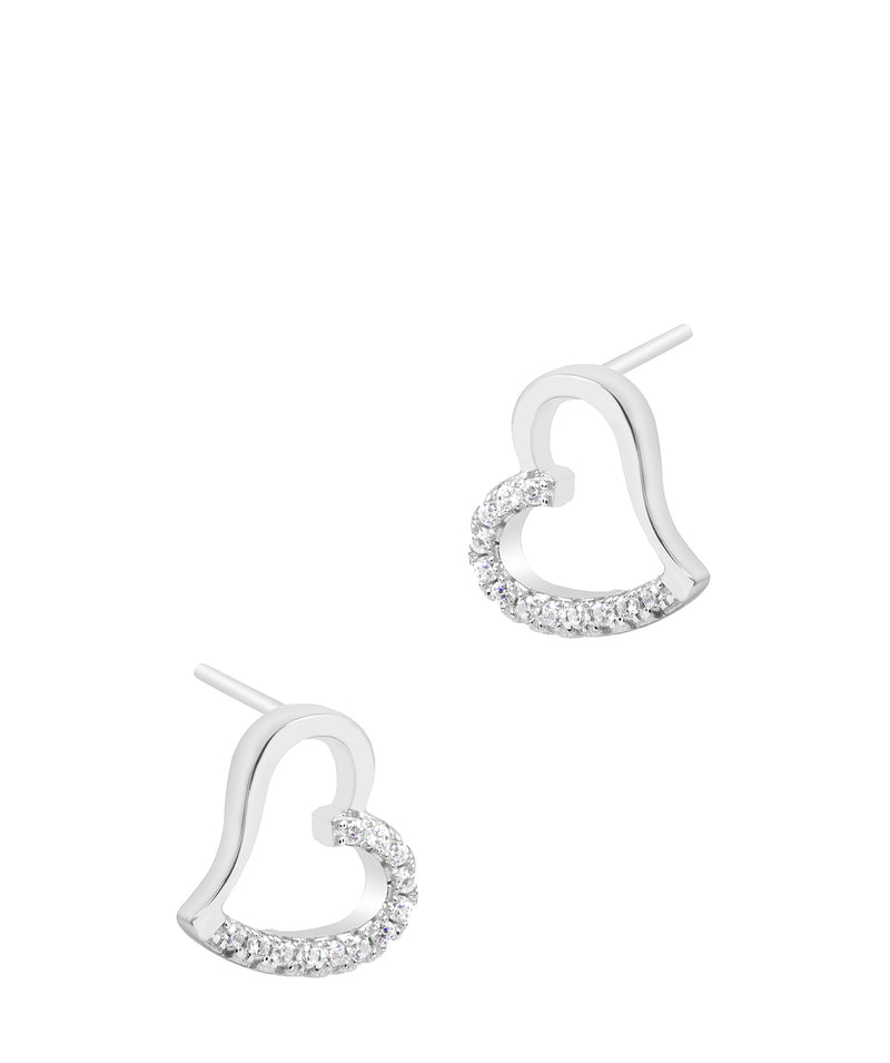 Gift Packaged 'Luisa' Rhodium Plated 925 Silver Heart Earrings