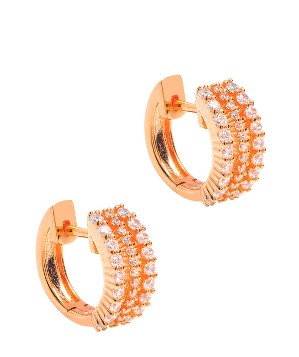 Gift Packaged 'Polaris' 18ct Rose Gold Plated 925 Silver & Cubic Zirconia Earrings
