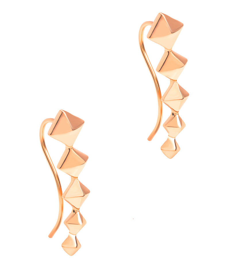 Gift Packaged 'Sirino' 18ct Rose Gold Plated 925 Silver Diamond Design Earrings