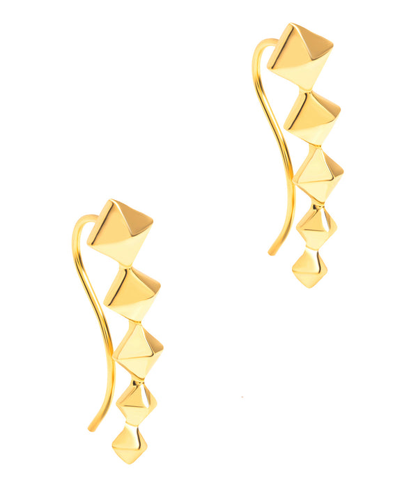 Gift Packaged 'Sirino' 18ct Yellow Gold Plated 925 Silver Diamond Design Earrings