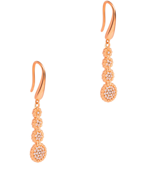 Gift Packaged 'Vezzana' 18ct Rose Gold Plated 925 Silver Tiered Cubic Zirconia Earrings