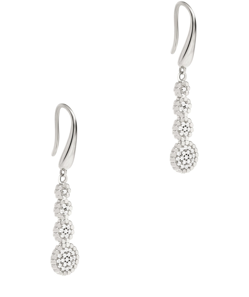 Gift Packaged 'Vezzana' 925 Silver Tiered Cubic Zirconia Earrings