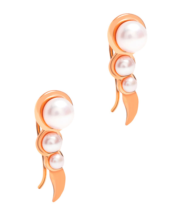 Gift Packaged 'Miletto' 18ct Rose Gold Plated 925 Silver & Freshwater Pearl Earrings