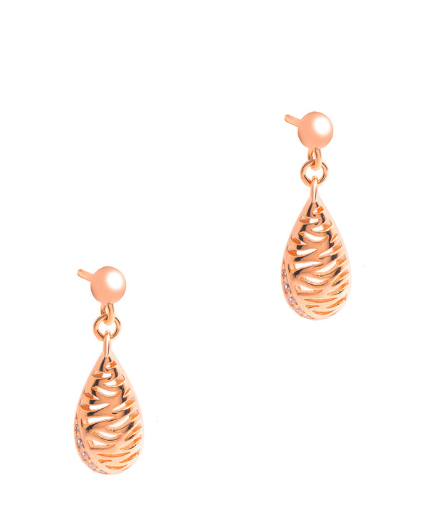 Gift Packaged 'Carrington' 18ct Rose Gold Plated 925 Silver & Cubic Zirconia Drop Earrings
