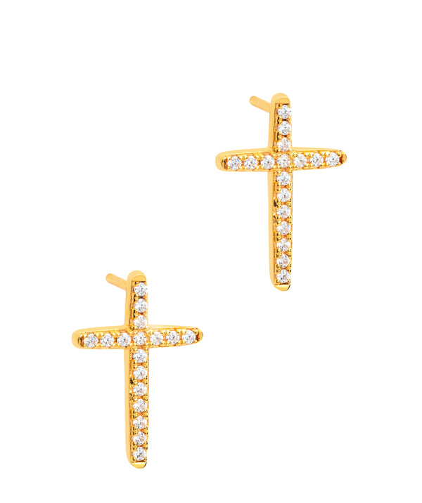 Gift Packaged 'Strand' 18ct Yellow Gold Plated 925 Silver & Cubic Zirconia Earrings