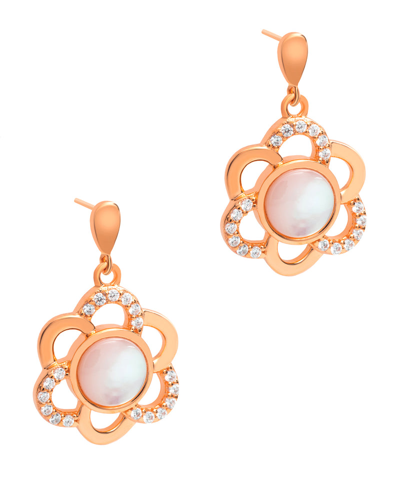 Gift Packaged 'Asquith' 18ct Rose Gold 925 Silver & Shell Pearl Sparkle Earrings