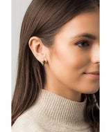 Gift Packaged 'Gsell' 18ct Yellow Gold Plated 925 Silver Leaf Design Stud Earrings