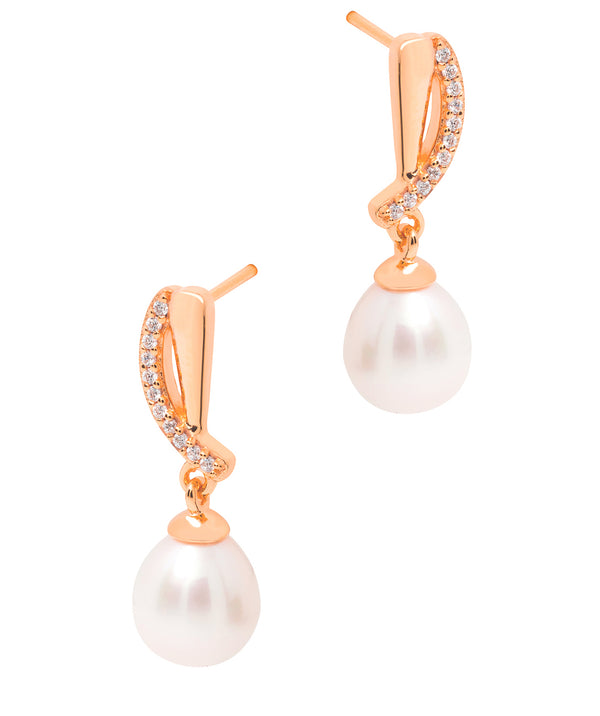 Gift Packaged 'Ryser' 18ct Rose Gold Plated 925 Silver & Freshwater Pearl Drop Earrings