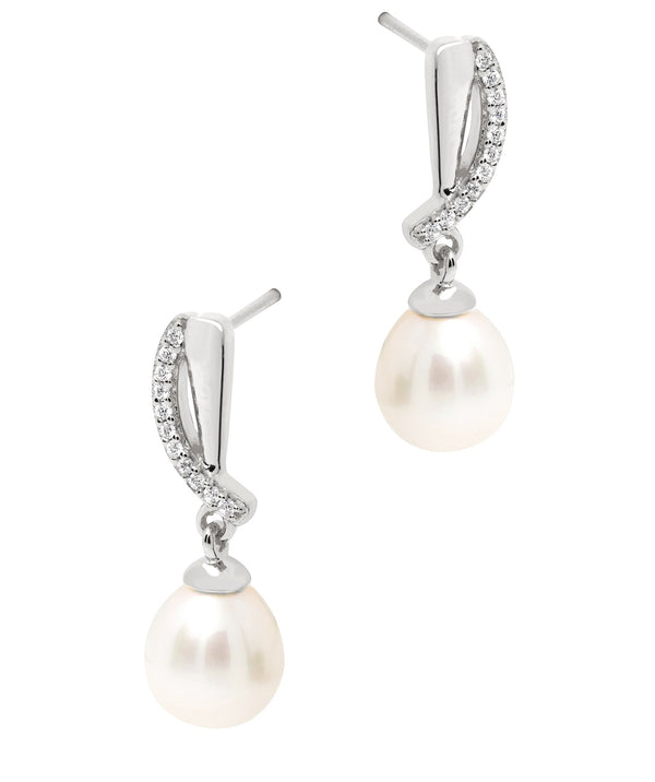 Gift Packaged 'Ryser' Rhodium Plated 925 Silver & Freshwater Pearl Drop Earrings