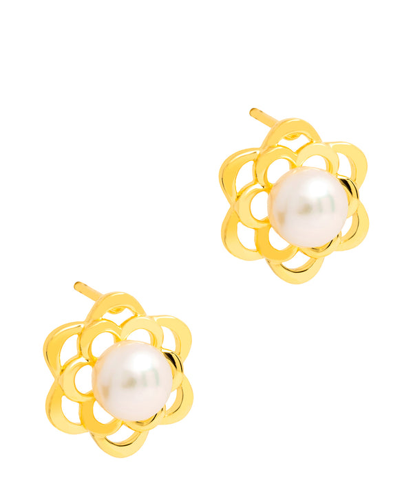 Gift Packaged 'Heeb' 18ct Yellow Gold Plated 925 Silver and Freshwater Pearl Flower Stud Earrings