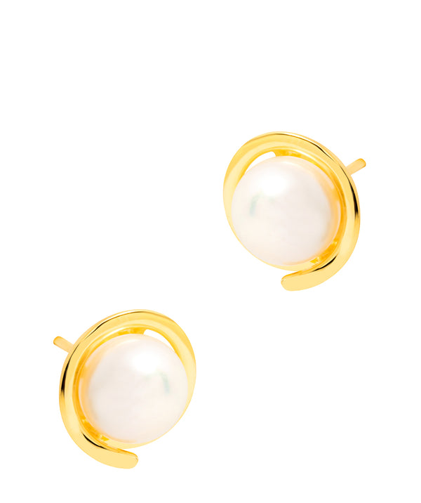Gift Packaged 'Reller' 18ct Yellow Gold Plated 925 Silver and Freshwater Pearl Stud Earrings