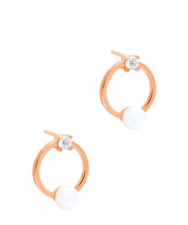 Gift Packaged 'Karson' 18ct Rose Gold Plated 925 Silver & Freshwater Pearl Earrings
