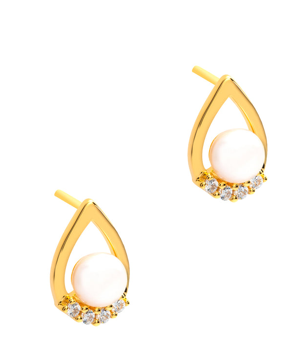 Gift Packaged 'Atwood' 18ct Yellow Gold Plated 925 Silver & Freshwater Pearl Earrings