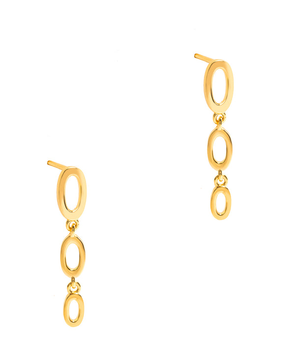Gift Packaged 'Pedroni' 18ct Yellow Gold Plated 925 Silver Link Drop Earrings