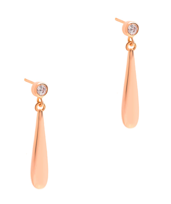 Gift Packaged 'Risch' 18ct Rose Gold Plated 925 Silver and Cubic Zirconia Drop Earrings